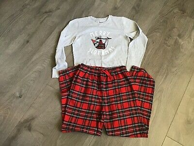Next girls Christmas tartan pyjamas age 11