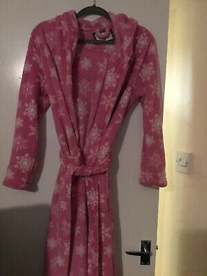 Select Size small 10  pink dressing gown Robe Soft & fluffy Snowflake Hood Belt
