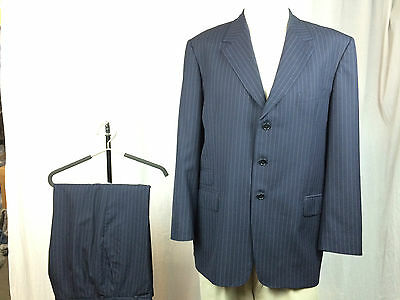 * PAUL SMITH LONDON * Navy Blue w/ Blue Pinstripes Wool Suit 46L 9/10!