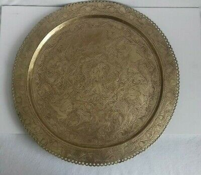 Antique Brass Hand Engraved Indian Tray