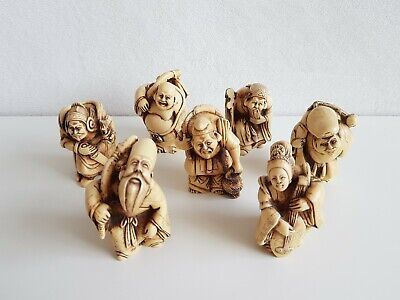 7 Vintage Hand Carved Netsuke Resin Chinese Japanese Old Man Figurines