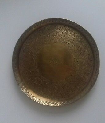 Antique Indian Persian Hand Engraved Brass Tray