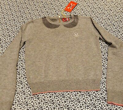 Designer No Added Sugar Girls Grey Top With Pretty Collar Rrp£55 Sz 7/8 BNWT