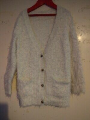 Next Girls Aged 7-8 Years Long Sleeved White Cardigan