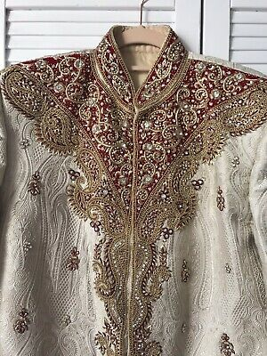 New Mens Cream Asian Indian Pakistani, Groom Wedding Sherwani Jacket Size Large