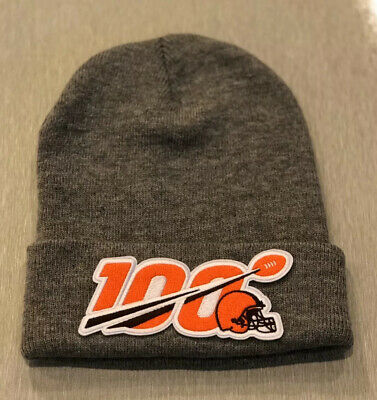 NFL 100 Seasons 100th Years CLEVELAND BROWNS Beanie Toboggan Patch Style GRAY