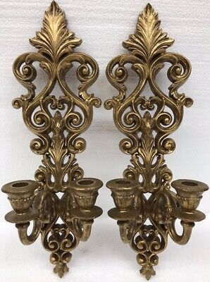 Vintage 1963 Burwood Gold Colored Double Candle Holder Wall Sconce Set (Pair)