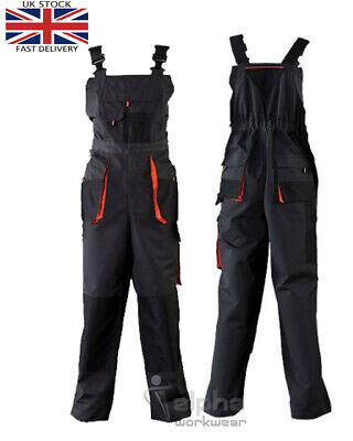 Mens Work Trousers Bib and Brace Overalls Knee Pad Pocket Dungarees ECO-B