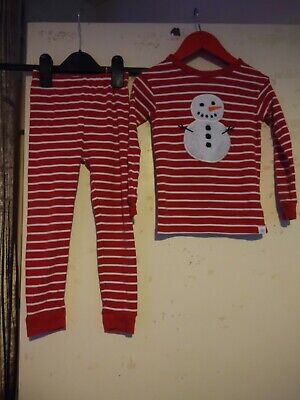 Baby Gap Red And White Striped Christmas  Snowman pyjama set Aged 4 Years