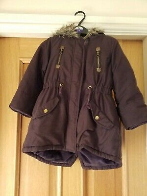 John Lewis Girls Winter Hooded Coat Purple Age 5 Fleece Lining