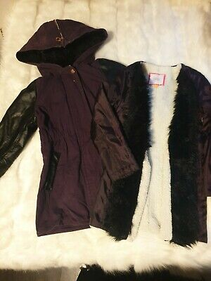 GIRLS AGE 4-5-6 YEARS TED BAKER purple fur HOODED COAT 2 in one jacket next day
