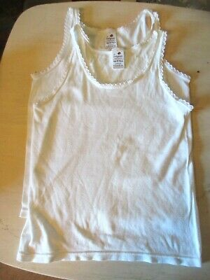 Ladybird Girls White   Vests    Age 9-12   2 x Vests.  good condition