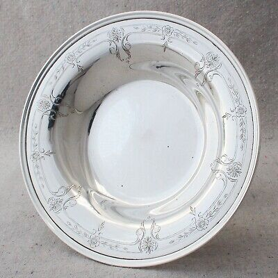 """Antique Shreve & Co Sterling Silver Hand Engraved Floral Compote Footed Bowl 6¾"""""""