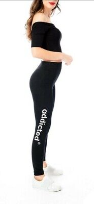 Solid White addicted Print Womens Ladies One Size Legging