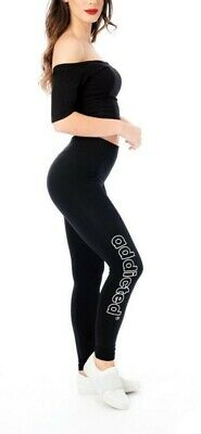 White outline addicted Print Womens Ladies One Size Legging