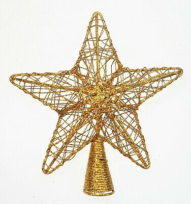 Gold Glitter Hollow 3D Star Topper for Small Tree 6""