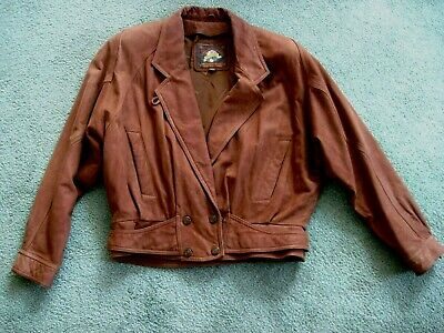 Wilsons Adventure Bound Leather Jacket Removable Liner Womens Size Large  Brown