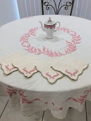 Vintage Pink Table Cloth Cross Stitch With 4 Matching Napkins Has Soiled Areas