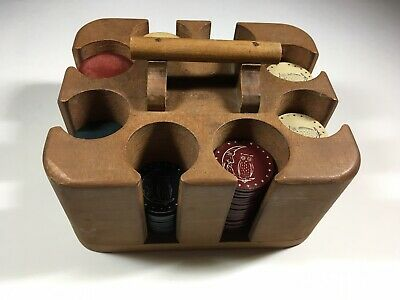 Vintage Clay and Owl Poker Chips and Case