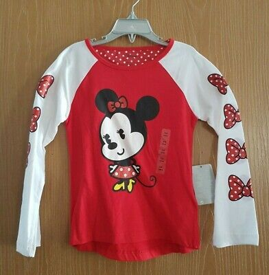 Disney Store Minnie Mouse Girls Gorgeous Glittery Sleeve Top Size 5/6 Years Bnwt
