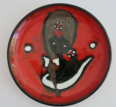 vintage 1960s Franco RUFINELLI Assisi Italy art pottery DISPLAY PLATE retro girl