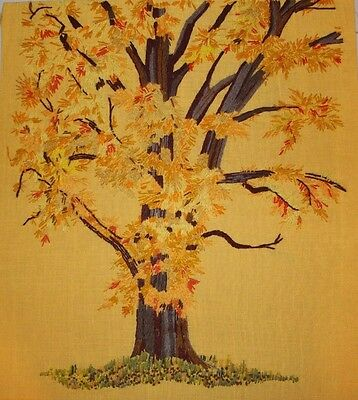 "Vintage Autumn Fall Tree Crewel Embroidery Completed Finished 24""x27"""