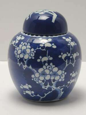 Antique Chinese Porcelain Covered Ginger Jar W/ Cherry Blossoms
