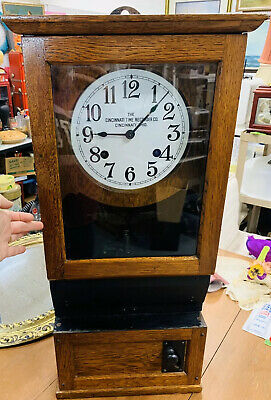 ANTIQUE OAK CINCINNATI TIME RECORDER CO TIME CLOCK - Working
