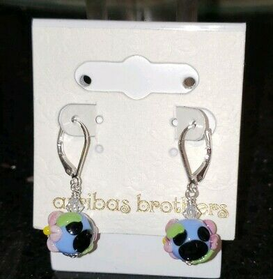 Disney Parks Arribas MICKEY MOUSE FLORAL Glass Drop Dangle Earrings NEW