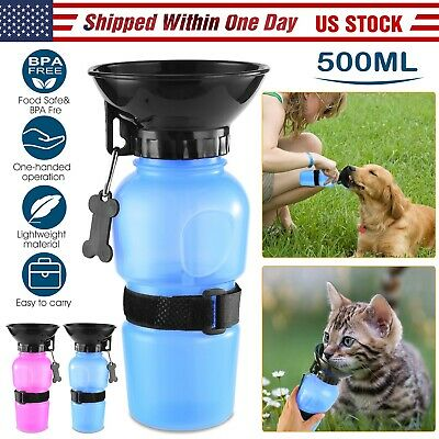 Portable Pet Water Bottle Dispenser Drink Cup for Dog Puppy Travel Feeder 500ml