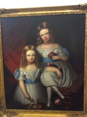 Very Charming Antique 18th, 19th Century Portrait Painting of Two Girls, c 1780