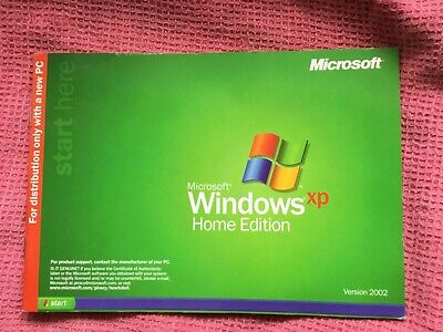 Windows XP Home Edition. Version 2002with unused CD