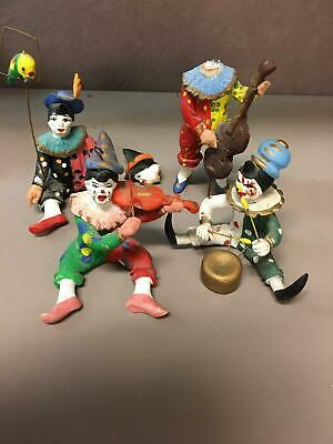 Set of 4 Ceramic Colorful Hand Painted Clown Musicians & Bird Bass Violin Drum