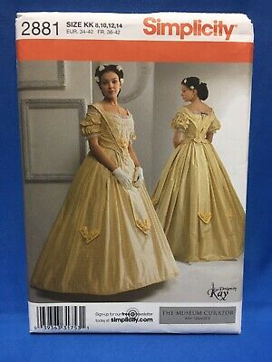 Simplicity 2881 Sewing Pattern Civil War Era Historical Costume Misses 8-14