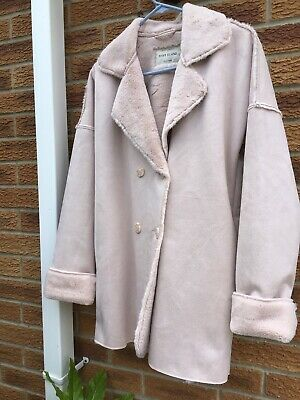 Girls River Island aged 11 - 12 faux suede knee length coat jacket pink cute