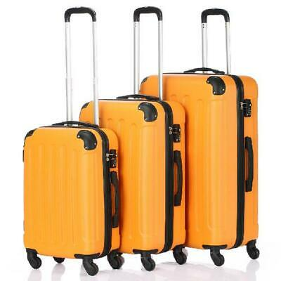 Orange 3 Pieces Travel Luggage Set Bag ABS Trolley Carry On Suitcase TSA Lock