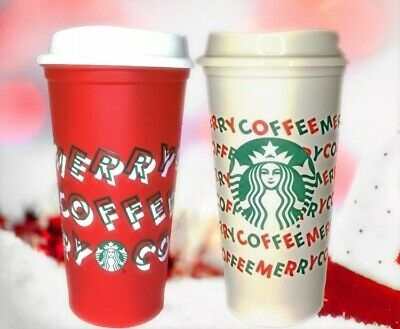 Starbucks Holiday Christmas 2019 MERRY COFFEE 2 Reusable Hot Cups Red + White