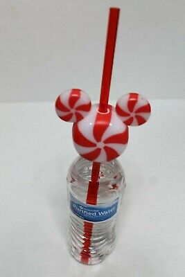 Disney Parks Christmas Holiday 2019 Light Up Mickey Candy Cane Bottle Straw NEW