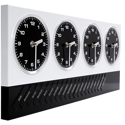 DESIGN WALL CLOCK GLOBAL | 4 clocks, white/black, 20 magnets with german cities