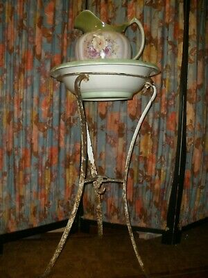 Vintage ANTIQUE WASH STAND Wrought Iron RUSTIC OLD CONDITION