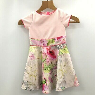 TED BAKER Pink Floral Skater Dress Occasion Party Size Age 4 Years TH344323