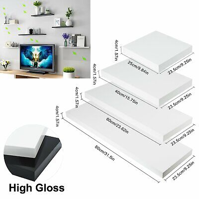 Floating Wall Mounted Shelves DVD Storage Display Cabinet High Gloss MDF Shelf