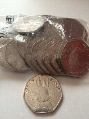 Full Bag Of 20 Peter Rabbit 50P Coins Circulated  Not A Sealed Bag