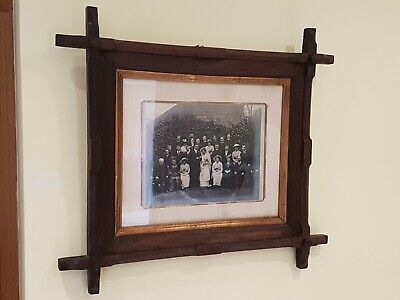 Antique Arts and Crafts Oak Hand Carved Picture Photo Frame