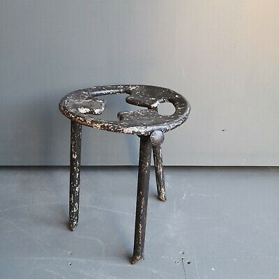 Vintage Industrial Metal Milking Stool  Antique Mid Century Modernist style