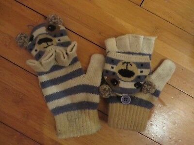 childs boys finger less gloves change to mittens 5-7 years beige blue teddy