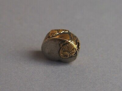 19th century antique ojime bead mixed metals silver gold fishes