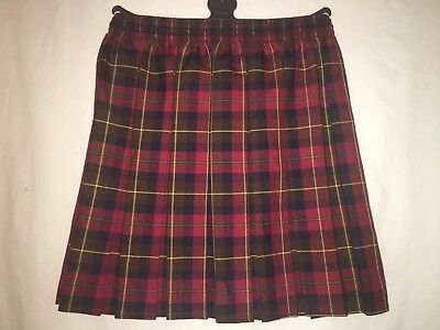 Girls box pleated all round elasticated check tartan school uniform kids skirts.