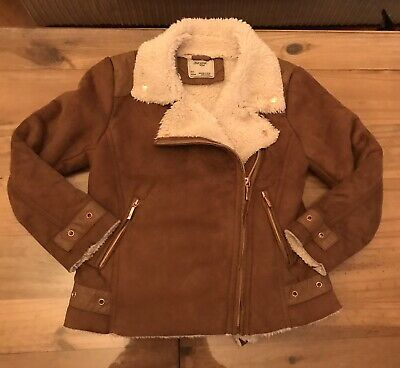 Mayoral Girls Shearling Faux Suede Flying Jacket - T7 Age 6-7 🎀