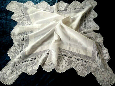 Antique MARY CARD Tablecloth ROSE BUD LACE Design Chart #53 Filet Hand Crochet